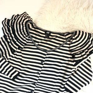 H&M Striped Ruffle Shoulder Cardigan Size M